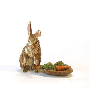 Rabbit with Carrots & Basket Vienna Bronze Figurine