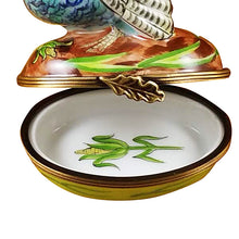 "Load image into Gallery viewer, Rochard ""Blue Turkey with Cornstalk"" Limoges Box"