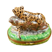 "Load image into Gallery viewer, Rochard ""Panther with Baby"" Limoges Box"