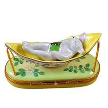 "Load image into Gallery viewer, Rochard ""Rabbit in Hammock"" Limoges Box"