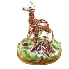 "Load image into Gallery viewer, Rochard ""Giraffe with Baby"" Limoges Box"