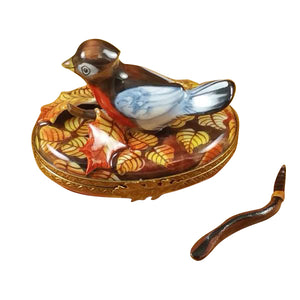 "Rochard ""Robin with Removable Worm"" Limoges Box"