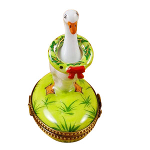 "Rochard ""Goose with Spring and Christmas Wreaths"" Limoges Box"