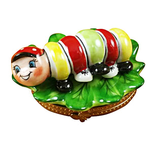 "Rochard ""Caterpillar on Leaf"" Limoges Box"