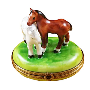 "Rochard ""Two Horses on Small Oval"" Limoges Box"