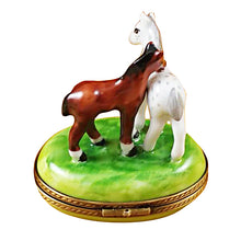 "Load image into Gallery viewer, Rochard ""Two Horses on Small Oval"" Limoges Box"