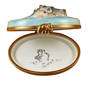 "Rochard ""Hippo with Baby in Water"" Limoges Box"