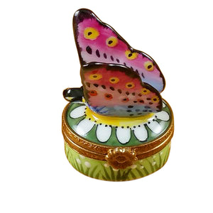 "Rochard ""Mini Butterfly on Daisy"" Limoges Box"