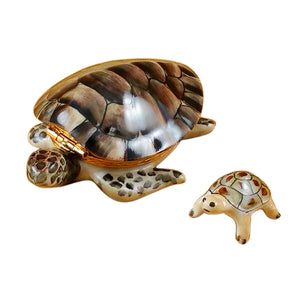 "Rochard ""Turtle with Baby"" Limoges Box"