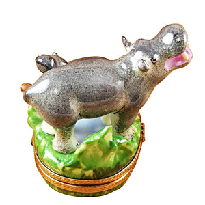 "Rochard ""Hippo and Baby"" Limoges Box"