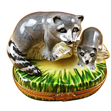 "Load image into Gallery viewer, Rochard ""Raccoon with Baby"" Limoges Box"