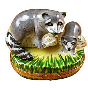 "Rochard ""Raccoon with Baby"" Limoges Box"
