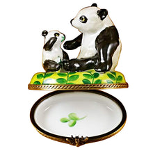 "Load image into Gallery viewer, Rochard ""Panda and Cub"" Limoges Box"