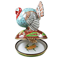 "Load image into Gallery viewer, Rochard ""Large Turkey with Removable Ear of Corn"" Limoges Box"