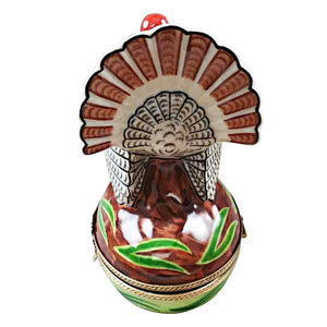 "Rochard ""Large Turkey with Removable Ear of Corn"" Limoges Box"