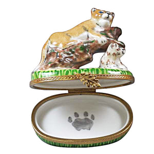 "Rochard ""Cougar with Baby"" Limoges Box"