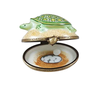 "Rochard ""Turtle on Sand with Removable Egg"" Limoges Box"
