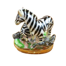 "Load image into Gallery viewer, Rochard ""Zebra with Baby"" Limoges Box"