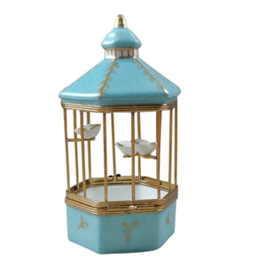 "Rochard ""Tiffany Blue Bird Cage with 3 Gold Birds"" Limoges Box"