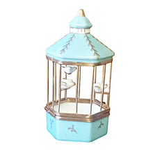 "Load image into Gallery viewer, Rochard ""Tiffany Blue Bird Cage with 3 Gold Birds"" Limoges Box"