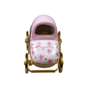 "Rochard ""Pink Baby Carriage"" Limoges Box"