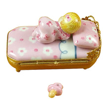 "Load image into Gallery viewer, Rochard ""Baby in Pink Bed with Pacifier"" Limoges Box"