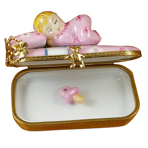 "Rochard ""Baby in Pink Bed with Pacifier"" Limoges Box"