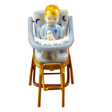 "Load image into Gallery viewer, Rochard ""Baby High Chair Blue"" Limoges Box"