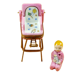 "Rochard ""Baby High Chair - Pink"" Limoges Box"