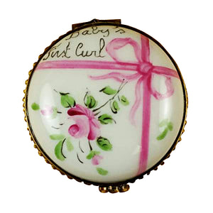 "Rochard ""Round Pink First Curl"" Limoges Box"