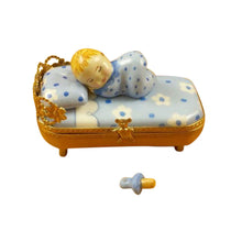 "Load image into Gallery viewer, Rochard ""Baby in Blue Bed with Pacifier"" Limoges Box"