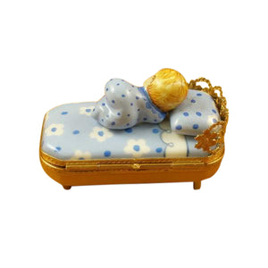 "Rochard ""Baby in Blue Bed with Pacifier"" Limoges Box"