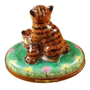 "Rochard ""Mother Cat with Baby"" Limoges Box"