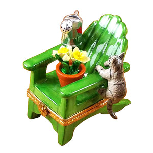 "Rochard ""Adirondack Chair with Cat, Watering Can & Plant"" Limoges Box"