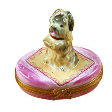 "Load image into Gallery viewer, Rochard ""Yorkie on Pink Base"" Limoges Box"