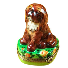 "Load image into Gallery viewer, Rochard ""Ruby King Charles Spaniel"" Limoges Box"