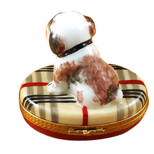 "Load image into Gallery viewer, Rochard ""Bulldog on Plaid Rug"" Limoges Box"