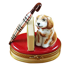 "Load image into Gallery viewer, Rochard ""Spaniel with Briefcase & Umbrella"" Limoges Box"