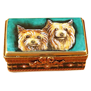 "Rochard ""Yorkies on Rectangular Base"" Limoges Box"