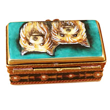 "Load image into Gallery viewer, Rochard ""Yorkies on Rectangular Base"" Limoges Box"