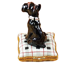 "Load image into Gallery viewer, Rochard ""Schnauzer on Plaid Pillow"" Limoges Box"