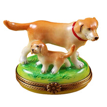 "Load image into Gallery viewer, Rochard ""Blond / Yellow Labrador with Puppy"" Limoges Box"