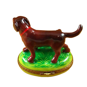 "Rochard ""Chocolate Labrador with Puppy"" Limoges Box"