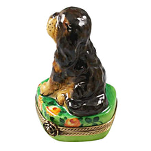"Load image into Gallery viewer, Rochard ""Black and Tan King Charles Spaniel"" Limoges Box"