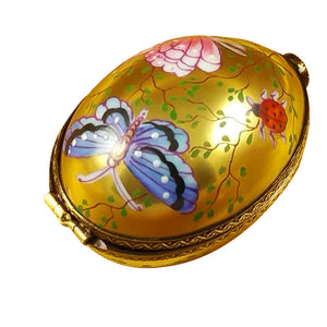 "Rochard ""Egg Décor Butterfly on Gold Base"" Limoges Box"