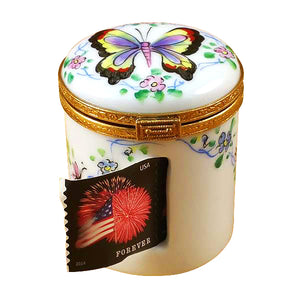 "Rochard ""Butterfly Stamp Holder"" Limoges Box"