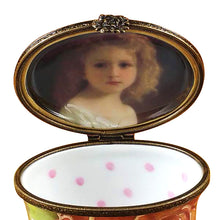 "Load image into Gallery viewer, Rochard ""Studio Collection - Oval Floral Green - Portrait of a Girl Inside"" Limoges Box"