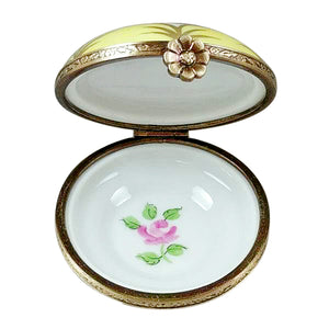 "Rochard ""Yellow Round with Flowers"" Limoges Box"