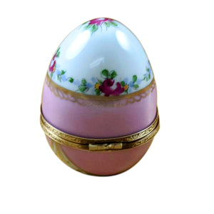 "Rochard ""Pink Egg with Flowers"" Limoges Box"