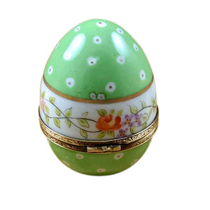 "Rochard ""Green Egg with Flowers"" Limoges Box"